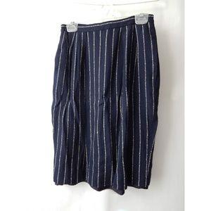 Jones New York Navy & White Pinstripe Skirt